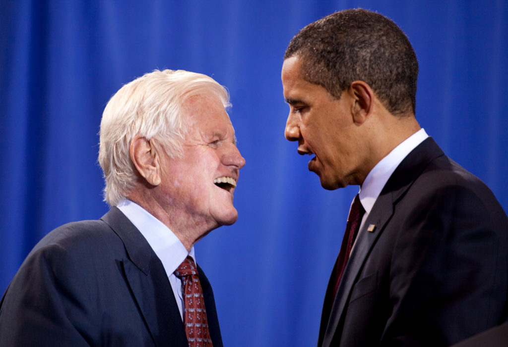 President Barack Obama and Senator Ted Kennedy participate in a national service event at The SEED School of Washington, D.C., where H.R. 1388, the Edward M. Kennedy Serve America Act was signed April 21, 2009. The legislation tripled the size of AmeriCorps and provides new service opportunities for millions of Americans at all stages of their lives. (Official White House Photo by Pete Souza) This official White House photograph is being made available only for publication by news organizations and/or for personal use printing by the subject(s) of the photograph. The photograph may not be manipulated in any way and may not be used in commercial or political materials, advertisements, emails, products, promotions that in any way suggests approval or endorsement of the President, the First Family, or the White House.